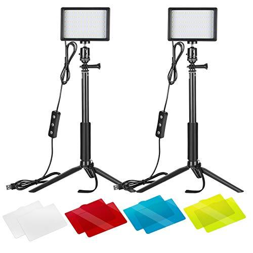Neewer 2er-Pack dimmbares 5600K USB-LED-Videolicht mit verstellbarem Stativ und Farbfiltern für Tisch- / Kleinwinkelaufnahmen, Zoom-/Videokonferenzbeleuchtung/Spielestreaming/YouTube-Videofotografie