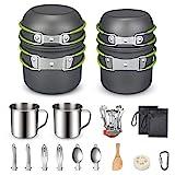 G4Free Camping Cookware Mess Kit 19 Pieces Hiking Backpacking Picnic Cooking Bowl Non Stick Pot Pan Knife Spoon Set 19PCS (Green)