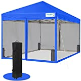 QUICTENT 8x8 Ez pop up Canopy Tent with Netting Screen House Room Tent Mesh Screen Walls Waterproof, Roller Bag & 4 Sand Bags Included (Royal Blue)