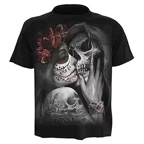 ZHRDRJB Stampa 3D Magliette,T-Shirt Estiva da Uomo T-Shirt Stampata con Teschio di Bellezza 3D T-Shirt A Maniche Corte Moda T-Shirt Girocollo novità T-Shirt Casual Unisex Taglie Forti, 6XL