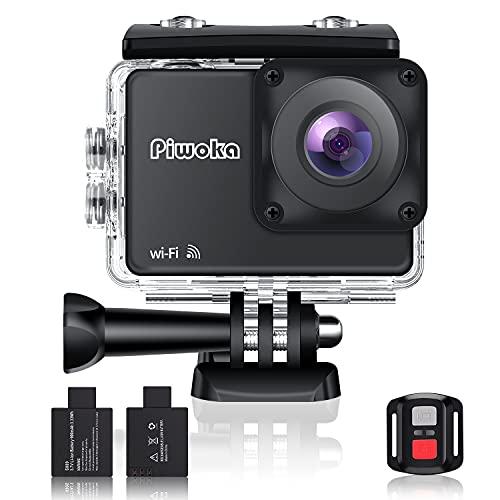 Piwoka 4K Sports Action Camera con Wi-Fi e telecomando Telecamera impermeabile Telecamera 30FPS Video 20MP Foto