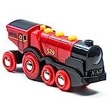 Brio World - 33592 - Locomotive rouge puissante à piles - Train électrique son et lumière - Pour circuit de train en bois - Jouet mixte à partir de 3 ans