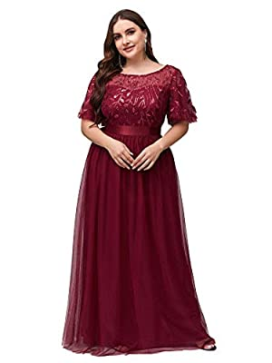 Fully lined, no built-in bras, no stretch Features: A-Line, empire waist, flared sleeves, embroidery upper half, floor length lace prom dress£¬ plus size maxi dresses Delicate embroidery design with flared sleeves, this prom dress is more elegant and...
