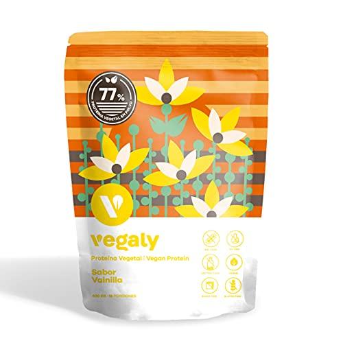 Proteína Vegana - VAINILLA - Excelente Disolución y Sabor - Proteína Vegetal en Polvo de Arroz Integral, Guisantes - Sin Soja. Sin Lactosa. Sin Azúcar. Sin Gluten. - 77% Proteína - Vegaly (400g)