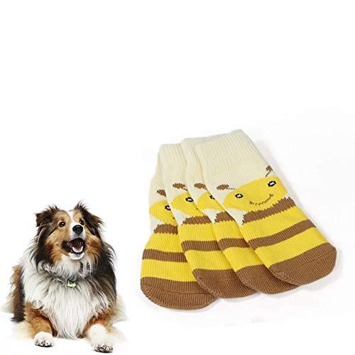 meioro Calzini per Cani Anti Scivolo Traction Control Cotton Protezioni per Zampe Traspiranti per Abbigliamento da Interno Set di 4 Cani di Taglia Grande e Media (3XL, Giallo)