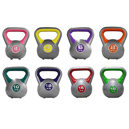 JLL® Coloured Vinyl Kettlebells 2kg-16kg (4kg), Home Gym, Training, Weight, Fitness, Available in sets. (Yellow, 4KG)