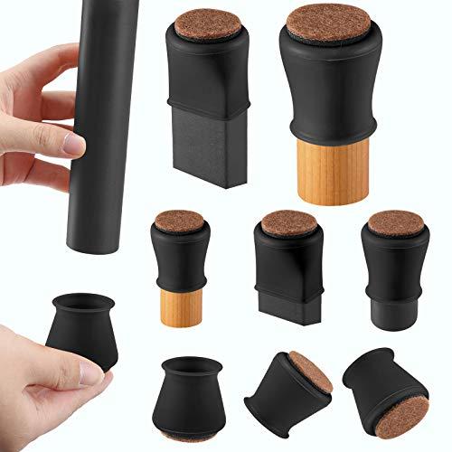 Black Silicone Chair Leg Floor Protectors with Felt, Chair Leg Caps, Silicon Furniture Leg Feet Protection Cover Protect Hardwood Floor 16 Pcs (Medium Fit: 1.2' - 1.5', Black)