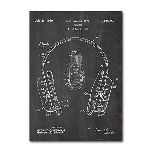 ThinkingPower Blueprint Wall Art Stampe Attrezzatura per DJ Poster Vintage e Stampe Cuffie per DJ Pittura brevettata Oggettistica per la casa Moderna 27,5'x35,4 (70x90 cm) Senza Cornice
