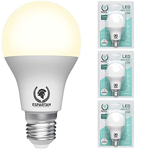 Espartan - Lampadine LED E27 Luce Calda, 15W, 1340 Lumen, 3000K, Lampadina LED E27 Luce Calda, Edison, Equivalenti a 120W Lampadine Alogena, Lampade LED E27 - Pacco da 3 Lampadina E27
