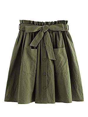Fabric has no stretch High waist, elastic waist,belted, above knee/short, plain summer A line skirt Casual, basic , great for women and junior girl, good for summer Occasion: office, work, school, dating, go out,vacation Please refer to the size char...