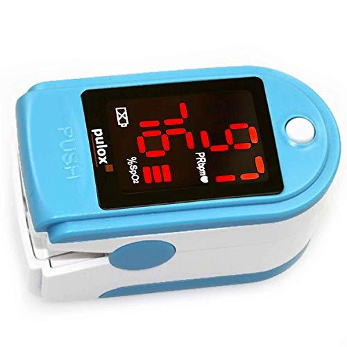 Pulsoximeter PULOX PO-100 zur Messung der Sauerstoffsättigung im Blut und des Puls mit LED-Anzeige und Zubehör