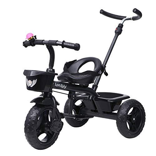 JoyRide Metal Tricycle with Parent Push Handle (Black)
