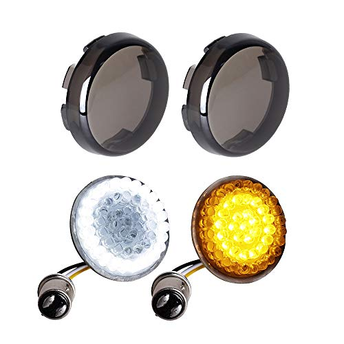 NTHREEAUTO Smoked Bullet Front Turn Signals LED Lights Panel Compatible with Harley Dyna Road Street Glide Road King Iron 883 Street Bob