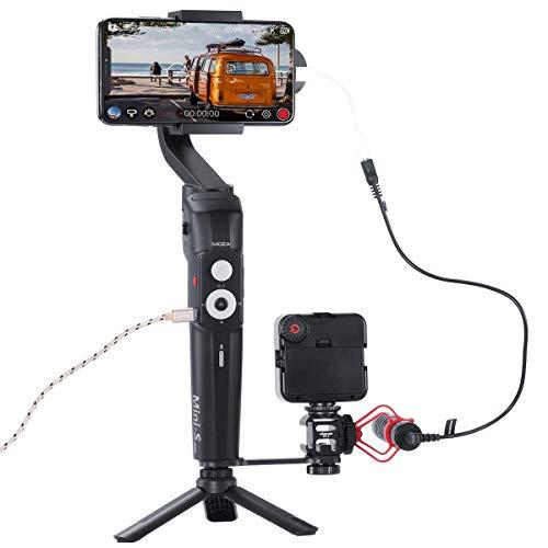 MOZA Mini-S Gimbal pieghevole 3 assi Smartphone Gimbal con piastra, Quick Platback, tracciamento degli oggetti, modalità di avvio Fucntion