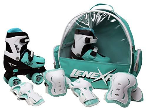 Lenexa Go GRO Adjustable Quad Roller Skate Bundle  Kids Rollerskates with Wrist Guards, Knee Pads, Elbow Pads, and Matching Backpack - Rollerskate Gift Set for Girls and Boys (Black & Teal, Large)