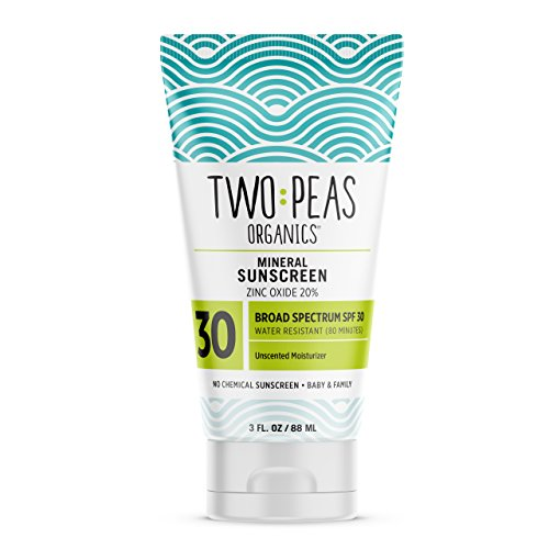 Two Peas Organics - All Natural Organic Sunscreen Lotion - Coral Reef Safe - Baby and Family Friendly - Chemical Free Mineral Based Formula - Waterproof & Unscented - SPF 30-3oz