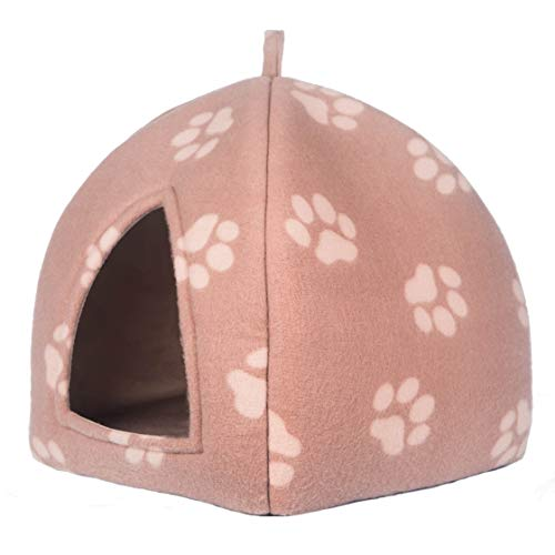 PETEQ Komfort Katzenhaus, Katzenhöhle in Mehreren Farben, 33cmx33cmx40cm, faltbar aus hochwertigem Material (Braun)