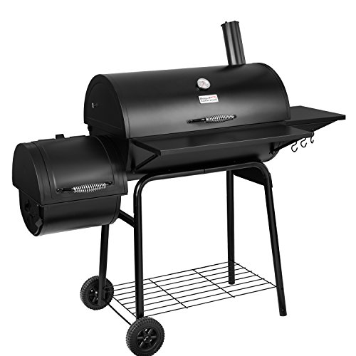 Royal Gourmet BBQ Charcoal Grill and Offset Smoker, 30'' L, 800 Square Inch, Outdoor for Camping, Black