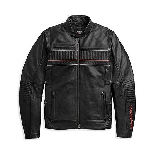 ハーレーダビッドソン JACKET-194,TRIPLE VENT,LEATHER,BLACK メンズ ブラック バイクウェア ジャケット 革ジャケット レザージャケット 97014-21VM (L)