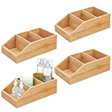 mDesign Juego de 4 cajas organizadoras con 3 compartimentos – Gran cajón de madera de bambú para cosméticos, maquillaje y otros accesorios – Clasificador ecológico para baño, cocina, etc. – natural