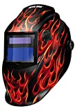Metal Man Auto Darkening Welding Helmet With 9 To 13 Adjustable Shade Control PLUS GRIND Solar Powered Real Flame Graphic Design| For MIG, TIG, Stick Welding