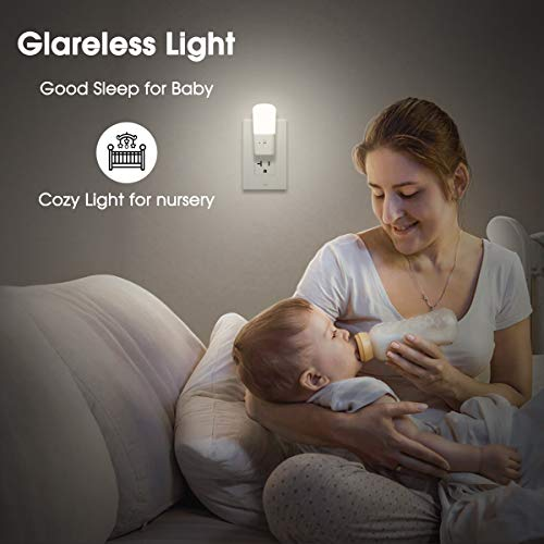 LOHAS Dimmable Night Light, Plug in LED Night Light Dusk to Dawn Light, Daylight 5000k from 5lm to 80lm Brightness Adjustable Bright Mini Wall Night Light for Kids Baby Bedroom Stairway Nursery 2 Pack