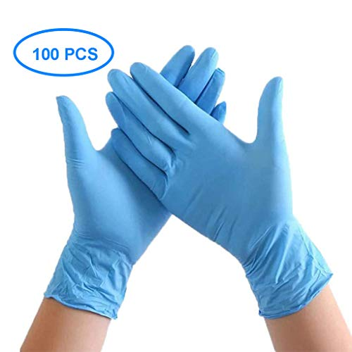 VGOCA 100 Pcs Nitrile Disposable Gloves Powder Free Rubber Latex Free Medical Exam Gloves Non Sterile Ambidextrous Comfortable Industrial Blue Rubber Gloves M
