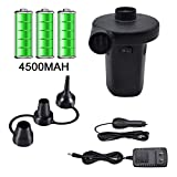 Electric Air Pump for Inflatables, Air Mattress Pump Rechargeable Battery Air Pump with 3 Nozzles for Airbed Boats Swimming Ring Inflatable Pool Toys Inflator Deflator with 12.6V DC Adapter (4500mAH)