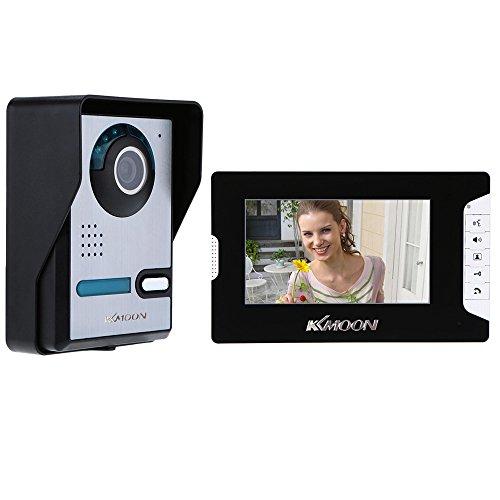 KKmoon, Kit Videocitofono, Video Campanello, Citofono Videocitofono, 7 Pollici TFT LCD Citofono con Telecamera Visione Notturna IR Impermeabile per la Sicurezza Domestica