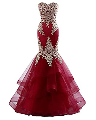 Material: Stretch Satin, tulle with Gold Lace Appliques Features: Sleeveles, Sweetheart/Backless, Lace Applique, Full Length/ Short train, Layed and Ruffles, Lace Up closure, Mermaid Formal Dresses 2020 long mermaid strapless evening prom formal wedd...