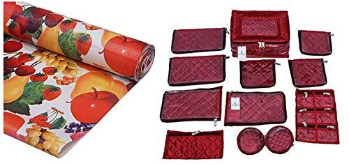 Kuber Industries PVC Wardrobe Kitchen Drawer Shelf Mat 10 Mtr Roll (Cream), CTKTC013554 & Jewellery Kit with 12 Pouches (Maroon Satin) Combo