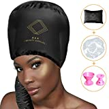 Bonnet Hair Hood Dryer Attachment – Ultimate 3pack Soft Large Hose Bonnet, Adjustable w/10 Curlers and 5 Shower Caps, Stretchable Grip for Hand Held textured Curly Hair, Speed Up drying Experience