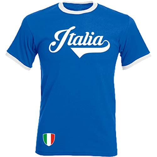 Italien - Ringer Retro TS - blau - EM 2016 T-Shirt Trikot Look Italy (XXL)