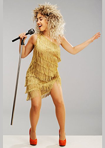 Magic Box Disfraz de Tina Turner Estilo años 80 para Mujer con Peluca Small (UK 8-10)