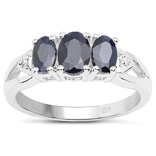 La Colección Zafiro: Anillo de Plata con 3 Piedras Zafiro set Diamantes en los hombros , anillo de compromiso Talla del anillo 20