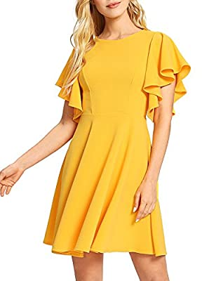 Materials: Jersey, 95% Polyester, 5% Spandex,stretchy fabric Scoop Neck, Flutter Sleeve, High Waist, Above Knee, Invisible Zipper Back Vintage and Elegant Style,Fit and Flare Casual Dress;Perfect for Spring,Summer,and Fall. Occasion: Casual, Beach, E...