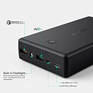 AUKEY 30000mAh USB-C Portable Charger with Quick Charge 3.0 Power Bank, 3 USB Outputs Battery Pack for Nintendo Switch, iPhone 8 / Plus and More