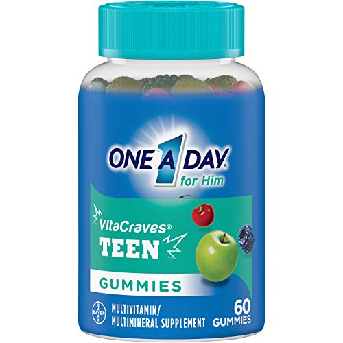 One A Day VitaCraves Teen for Him Multivitamin Gummies, Supplement with Vitamin A, Vitamin C, Vitamin D, Vitamin E and Zinc for Immune Health Support* & more, 60 Count 1