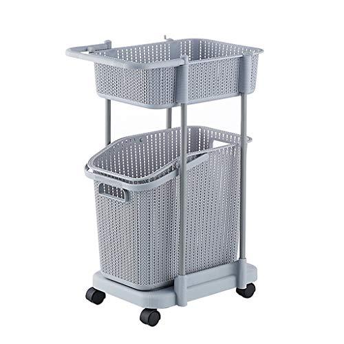 SUOMO Wäschekorb, rollbarer Wäschekorb, Mehrzweck-Wäschekorb, herausnehmbarer Wäschekorb, Küche, Badezimmer, Aufbewahrungskörbe, Trolley – robuster Kunststoff – Grau 2 Etagen