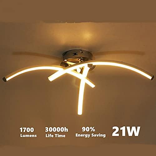 DAXGD LED Lampade da soffitto, 21W Plafoniera a LED moderna a superficie a forma di forcella per soggiorno Camera da letto Scala Plafoniere LED, 3500K Luce bianca calda