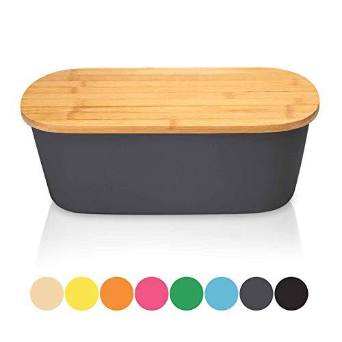 Bambuswald Brotbox mit integriertem Schneidebrett 38x21,5x12 cm - Brotdose   Brotkasten für Croissants, Brot o. Brötchen   Brotbehälter mit Küchenbrett   Brotbrett Grau