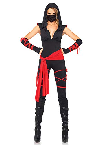 Leg Avenue Women's Deadly Ninja Costume, Black/Red, Small, Black/Red, Size Small
