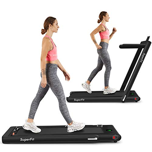 Goplus 2 in 1 Folding Treadmill, 2.25HP Superfit Under Desk Electric Treadmill, Installation-Fr…