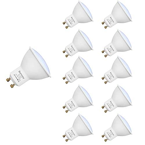 Bomcosy GU10 Lampadine LED, 7W Equivalente a 60W, Luce Bianca Calda 3000K LED Spotlight, 600LM, 120 Gradi Raggio Visuale,100-240 Volt, Non-Dimmerabile, Confezione da 10