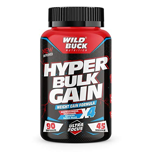 Wild Buck Hyper Bulk Gain Mass & Weight Gainer Capsule for Fast Weight & Muscle Gain, Daily Muscle Building Weight Lifters Supplement for Muscle Growth, Stamina & Strength, For Men & Women- 90 Cap.