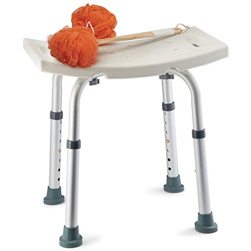 Shower Chair With Back Scrubber & Additional Sponge - Tool Free Shower Chair for Elderly - with 8 Adjustable Heights - Portable Anti Slip  Bath Chair for Elderly