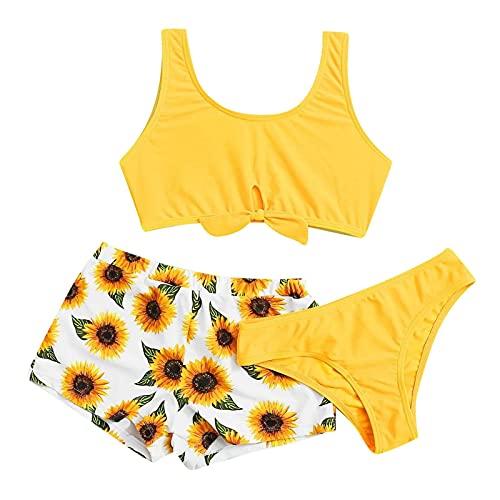 POachers Niñas Bañadores Estampado de Girasol Decoraciones de Lazos Hálter Bikinis...