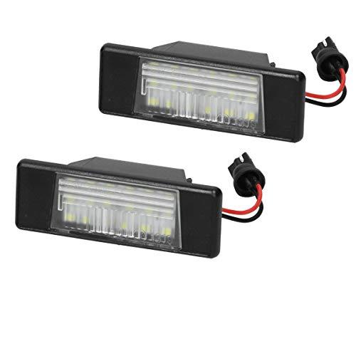 ECD Germany 2 x Luci Targa a LED Kit Luci con Marchio E - 6000K Luce LED LED Xenon Bianco Puro Luce Targa Posteriore Lampada per Luci Targa a LED Targa Moduli Set di 2 Luci Targa Facile Installazione