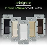 GE 14291 Enbrighten Z-Wave Plus Smart Light Switch, Works with Alexa, Google Assistant, SmartThings, Zwave Hub Required, Repeater/Range Extender, 3-Way Ready 1st Gen, White & Light Almond