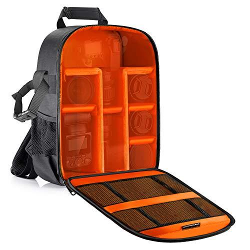Neewer - Zaino imbottito per fotocamera SLR DSLR, senza specchio, per fotocamera, flash, telecomando e altri accessori (interno arancione)